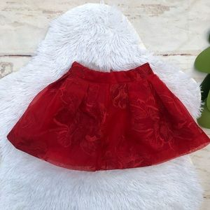 Janie Jack Red Embroidered Lace Skirt 12-18 Months
